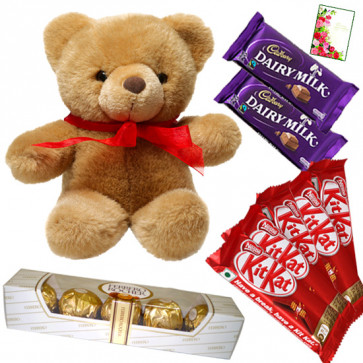 Cuddly Chocolates - Teddy 8 inch, 2 Dairy Milk, 5 Kitkat, Ferrero Rocher 4 pcs & Card