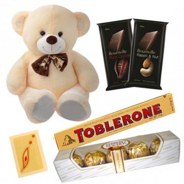 Teddy Choco Mix - Teddy 6 inch, 2 Bournville 30 gms each, Ferrero Rocher 4 pcs, Toblerone & Card