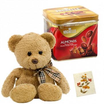 Elegant Teddy Gift - Teddy 10 inch, Vochelle Almond 160 gms & Card