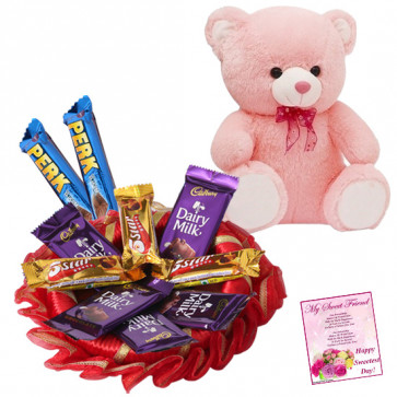 Teddy N Bars - Teddy 6 inch, 10 Assorted Bars & Card