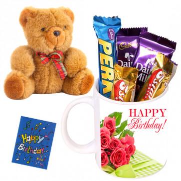 Lovely Teddy Wishes - Teddy 8 inch, Happy Birthday Mug, 5 Assorted Bars & Card