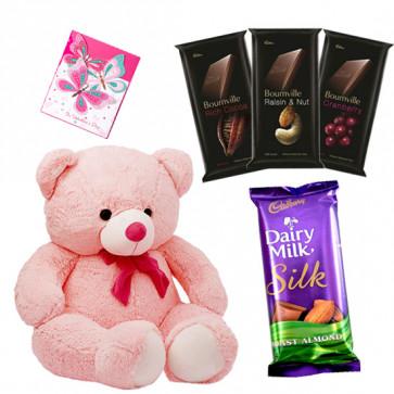 Cadbury N Teddy - Teddy 10 inch, Dairy Milk Silk 69 gms, 3 Bournville 30 gms each & Card