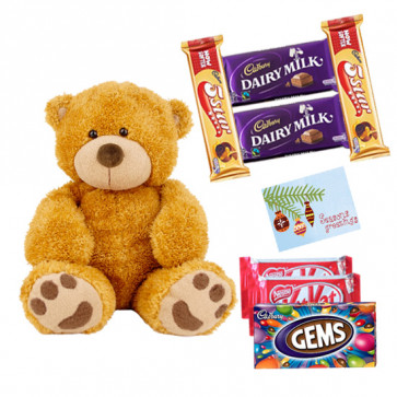 Teddy Love - Teddy 6 inch, 2 Kitkat, 1 Gems, 2 Dairymilk, 2 Five star & Card