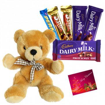 Assorted Teddy Hamper - Teddy 10 inch, Assorted Cadbury Hamper & Card