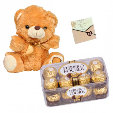Ferrero Celebration - Teddy 6 inch, Ferrero Rocher 16 pcs & Card