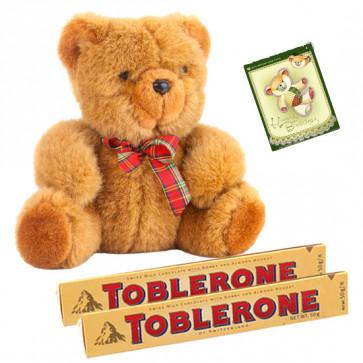 A Sweet Combination - Teddy 8 inch, 2 Toblerone & Card