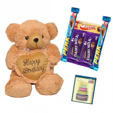 Cadbury Teddy - Teddy 12 inch with Heart, 5 Assorted Bars & Card