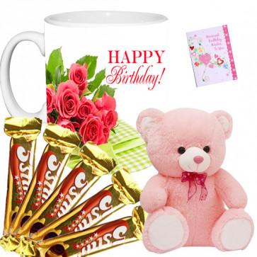5 Star Teddy - Teddy 8 inch, 5 Five Star, Happy Birthday Mug & Card