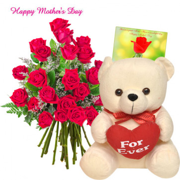 "Cute for Mom - Bunch of 12 Red Roses, Teddy with Heart 6"" and Card"