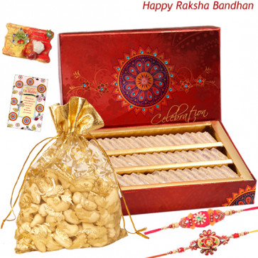 Kaju with Sweets - Cashew 100 gms in Potli, Kaju Katli with 2 Rakhi and Roli-Chawal