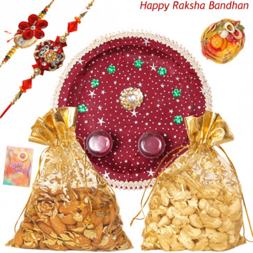 Kaju & Badam Thali - Almond 100 gms in Potli & Cashew 100 gms in Potli, Puja Thali (M) with 2 Rakhi and Roli-Chawal