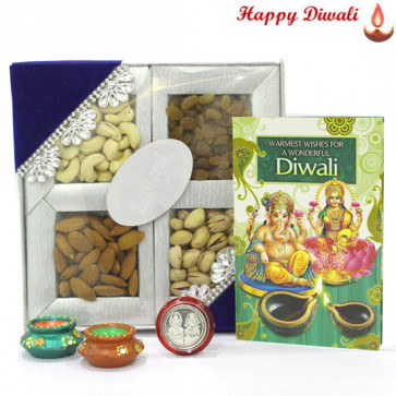 Dryfruit Delight - Assorted Dryfruits 200 gms with 2 Diyas and Laxmi-Ganesha Coin
