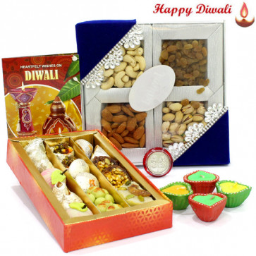 Special Surprise - Assorted Dryfruits 200 gms, Kaju Sweets 250 gms with 4 Diyas and Laxmi-Ganesha Coin