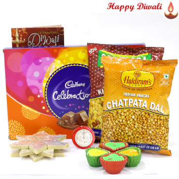 Tremendous Gifts - Kaju Katli 1 kg, Celebrations, 2 Namkeen with 4 Diyas and Laxmi-Ganesha Coin