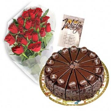 Cake Treat - 15 Red Roses + Chocolate Cake 1kg + Card