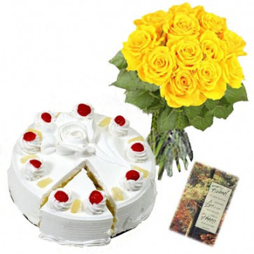 Way of Love - 15 Yellow Roses + Pineapple Cake 1kg + Card
