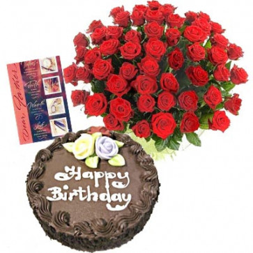 Sweet Moments - 25 Red Roses + Chocolate Cake 1kg + Card