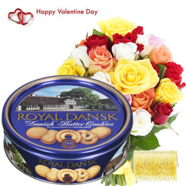 Roses & Cookies - 20 Mix Roses + Danish Butter Cookies 454 gms + Card