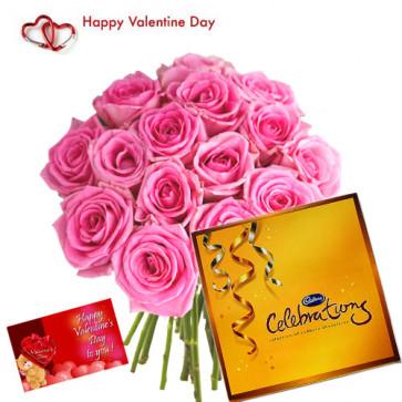 Love Celebration - 15 Pink Roses + Cadbury's Celebrations Pack + Card