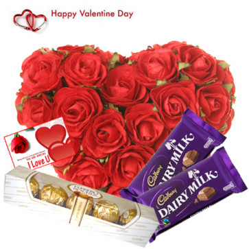 Chocos for Valentine - 30 Red Roses Heart + 2 Dairy Milk + Ferrero 5 Pcs + Card