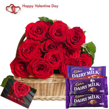 Cadbury with Roses - 15 Red Roses Basket + 2 Dairy Milk + Cadbury Fruit & Nut + Card