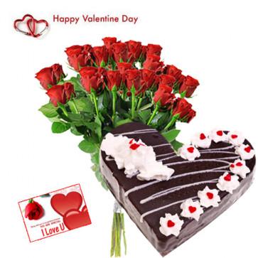 Valentine Lovely Wish - 20 Red Roses + Black Forest Heart Cake 2 kg + Card