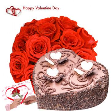 Valentine Cake Treat - 15 Red Roses + Chocolate Heart Cake 1 kg + Card