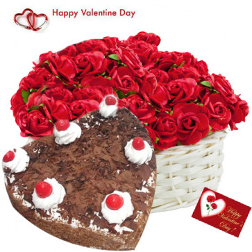 Heartly Gift - 50 Red Roses Basket, 1 Kg Heart Shape Black Forest Cake and Card