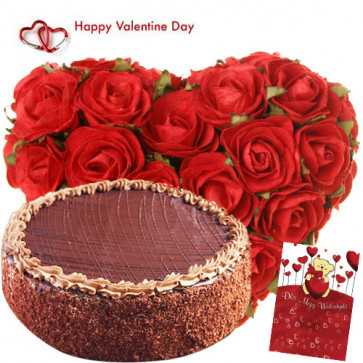 Valentine Classic Combo - 30 Red Roses Heart + Chocolate Cake 1 kg + Card