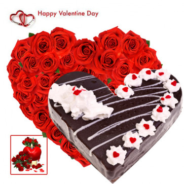 Beauty of Heart - 40 Red Roses Heart + Black Forest Heart Cake 1 kg + Card