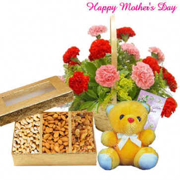 """Mother's Delight - 20 Pink and Red Carnations in Basket, Assorted Dryfruit Box, Teddy 6"""" and Card"""