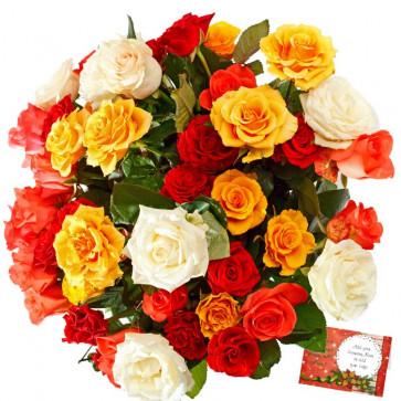 Artificial Mix Roses - 20 Artificial Mix Roses + Card
