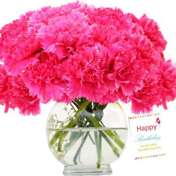Artificial Silk Flowers - 12 Artificial Silk Carnations Vase + Card