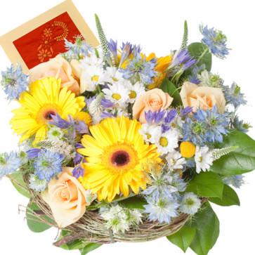 Subtle Concern - 20 Mix Flowers Basket + Card