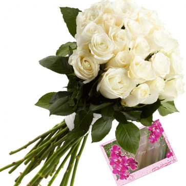 Our Tribute - 12 White Roses Bunch + Card