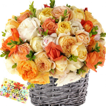 Rainbow Of Joy - 25 Mix Roses in Basket + Card