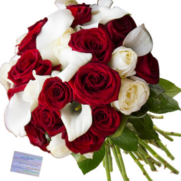 Benevolence - 35 Mix Flowers (White & Red) + Card