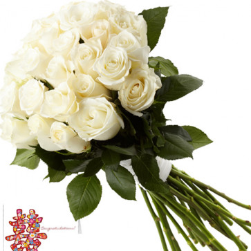 Serenity - 25 White Roses Bunch + Card
