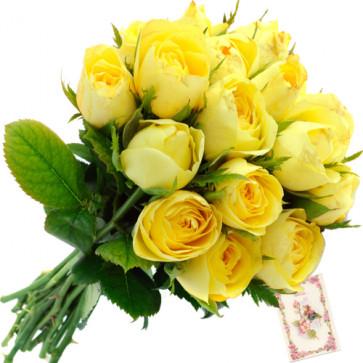 Condolence - 12 Yellow Roses Bunch + Card