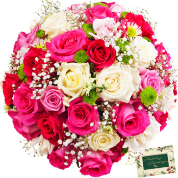 Pleasant Memory - 50 White & Pink Mix Flowers Wreath + Card