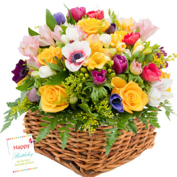 Expressions - 25 Seasonal Flowers Basket + Card