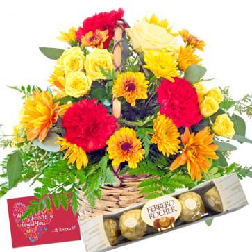 Special Basket - 6 Yellow Roses & 6 Gerberas in Basket + Ferrero Rocher 4 pcs + Card