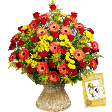 Lovely Basket - 24 Red & Yellow Gerberas in Basket + Card