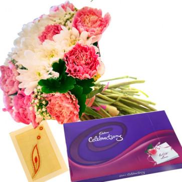 Valley of Love - 12 Pink & White Gerberas Bouquet + Cadbury Celebration 200 gms + Card