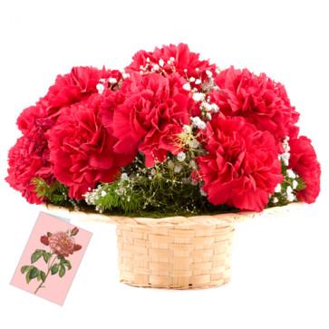 Red Basket - 12 Red Carnations Basket + Card