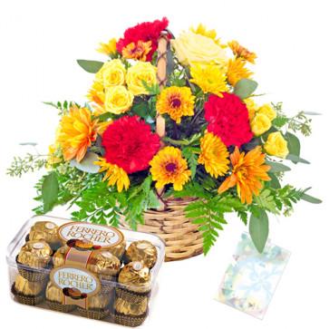 Full of Surprise - 20 Mix Carnations Basket + Ferrero Rocher 16 pcs + Card