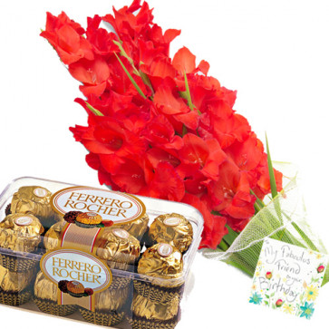 Sweet & Lovely - 12 Red Gladiolus + Ferrero Rocher 16 pcs + Card