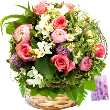 Colors of Love - 6 Gladiolus with Mix Flowers (6 Roses, 6 Carnations, 10 Gerberas) Basket + Card