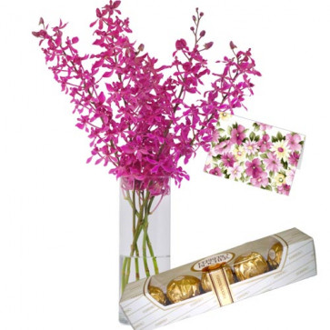 Lovely Moments - 6 Purple Orchids in Vase + Ferrero Rocher 4 pcs + Card