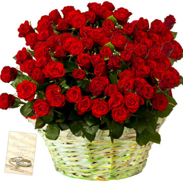 Love Is In The Air - 50 Red Roses Basket + Card